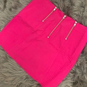 Neon Pink Stretch Mini Skirt with Silver Zippers